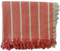 WOVEN STRIPED TABLE CLOTH PAPRIKA Cotton