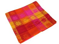 Hibiscus Daisy Cloth Orange Cotton 135x135cm