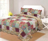 Patchwork Quilt  Set Red/Mustard