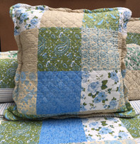 Patchwork Green/Blue Stripe Reverse Euro Cushion Cover