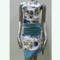 Floral Blue & Dots Apron