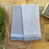 Grey Stripe & Heart Set of 2 Tea Towel