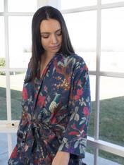 Bird Print Indigo Blue Kimono (OUT OF STOCK)