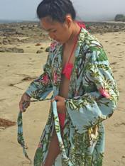 Bamboo Print Sky Blue Kimono