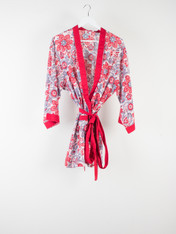 Red Chintz Short Kimono