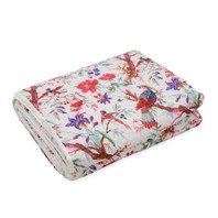 Bird Print White Quilt/Throw