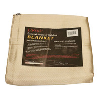 Welding Blanket with Grommets 6' x 8' Fiberglass Heat Treated Gold Resists 1000°F