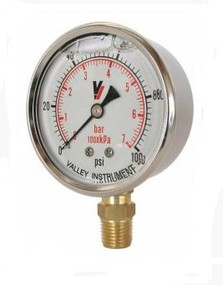"Valley Industries 2.5"" Liquid Filled Gauge, Dual Scale, 30PSI 