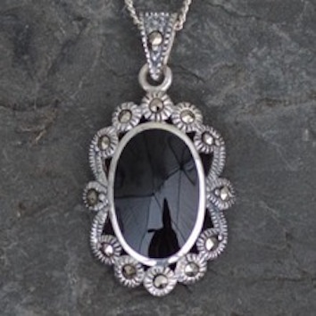 Marcasite and Whitby jet pendant