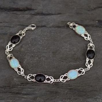 Whitby Jet and Opal bracelet