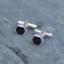 Small hexagon Whitby jet cufflinks