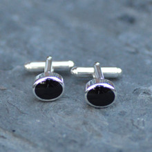 Solid oval Whitby jet cufflinks