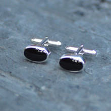 Sterling silver and Whitby jet gents cufflinks
