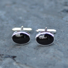 Heavy oval Whitby jet cufflinks