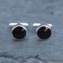 Round jet cufflinks handmade in Whitby