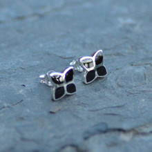 Whitby jet flower studs
