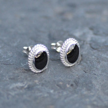 Oval rope edge Whitby jet stud earrings