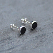 Round Whitby jet and silver earstuds