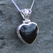Whitby jet filigree heart pendant