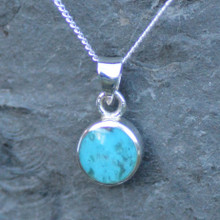 Whitby Jet and Kingman Turquoise Double Sided Pendant 005DS