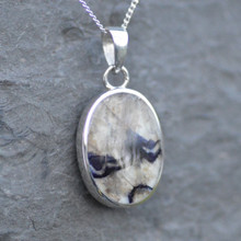 Whitby Jet and Blue John Double Sided Pendant 054BJS