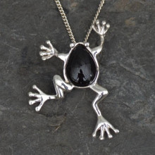 Whitby Jet Frog Pendant. Finest Whitby Jet and .925 Silver