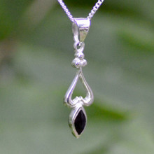 Whitby Jet Heart Marquise Pendant 471P