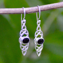 Long Whitby Jet Celtic Earrings 455E