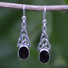 Large Whitby Jet Celtic Earrings 456E