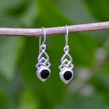 Celtic Whitby Jet Earrings 457E