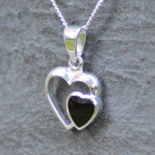 Whitby Jet Heart in a Heart Pendant 485P