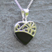 modern whitby jet and sterling silver heart pendant