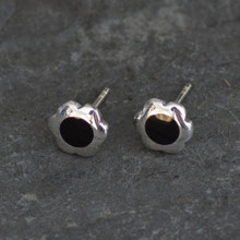 whitby jet flower ear studs