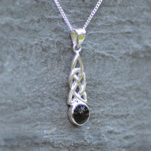 Celtic Whitby Jet pendant on sterling silver chain