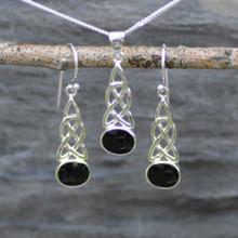 Celtic Whitby Jet pendant and earring set