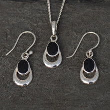 Whitby Jet Pendant and earrings set