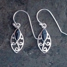 Whitby Jet marquise earrings
