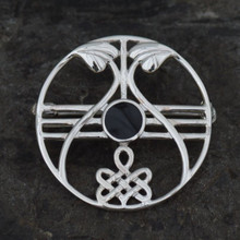 Whitby jet Celtic brooch