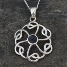 Round Celtic knot Whitby jet pendant