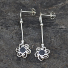 Whitby jet flower earrings
