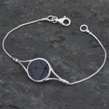 Whitby jet wishbone bracelet