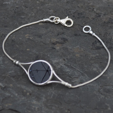 ladies Whitby jet wishbone bracelet