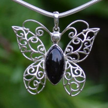 Large Filigree Whitby Jet butterfly Cabochon Pendant