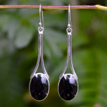 Oval Whitby Jet Earrings