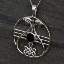 Large Whitby Jet Celtic Pendant 087CP