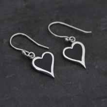 Whitby jet heart earrings