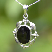 Large Whitby jet and silver necklace