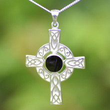 Large Celtic Whitby Jet cross