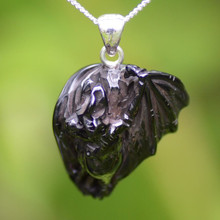 Hand carved Whitby jet bat pendant