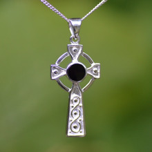Celtic Whitby Jet Cross pendant